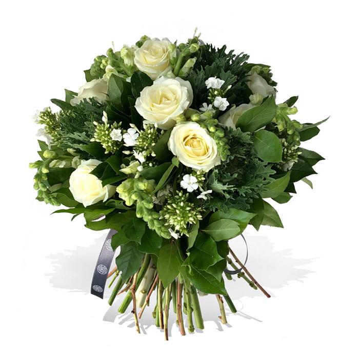 hand-tied bouquet of white roses