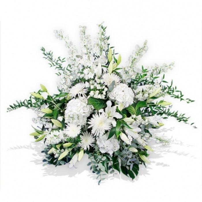 Front Facing White Elegance Flower Basket