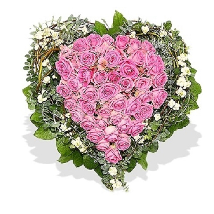 Pink Roses Heart Tribute