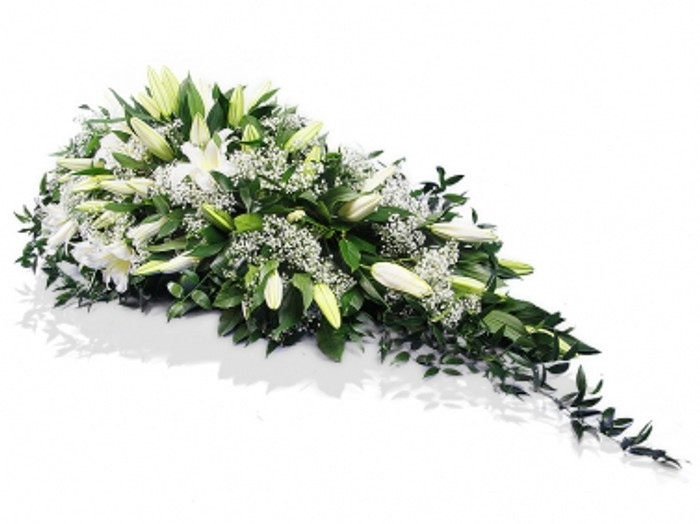 Single Ended White Lilies Funeral Spray