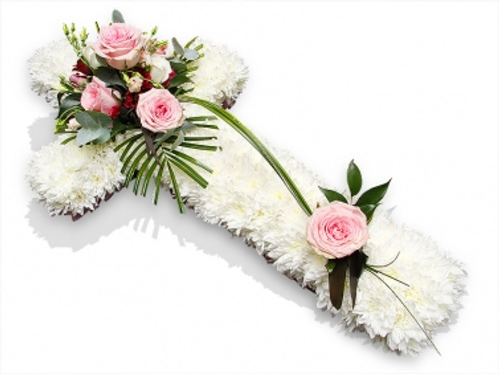 White and Pink Funeral Cross Tribute