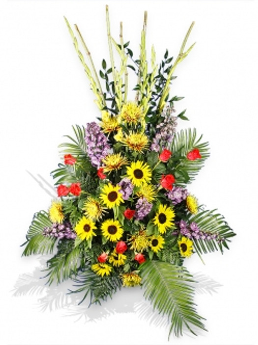 Yellow and Red Flower Basket