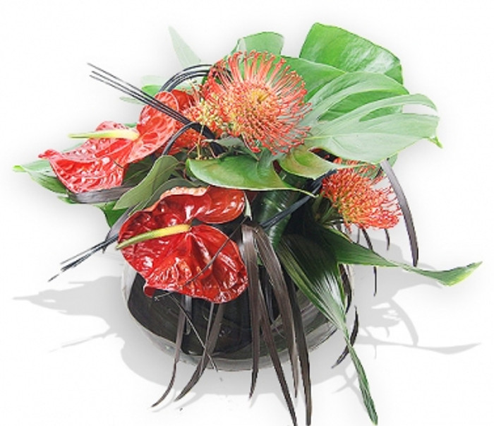 Tropical Designer Flowers in a Glass Vase
