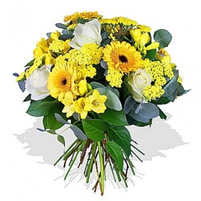 gerberas roses and freesia bouquet