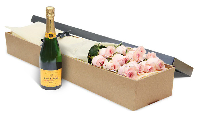 12 Pink Roses with Veuve