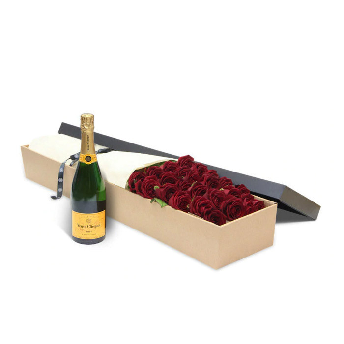 Luxury Red Roses with Veuve