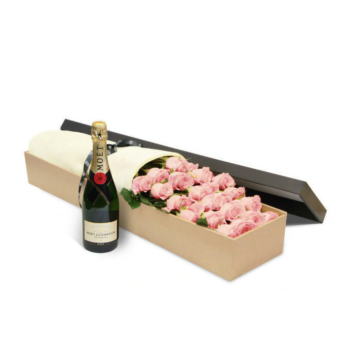 Luxury Pink Rose Box and Moet
