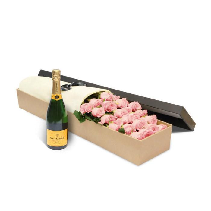 Luxury Pink Roses Gift Box & Veuve