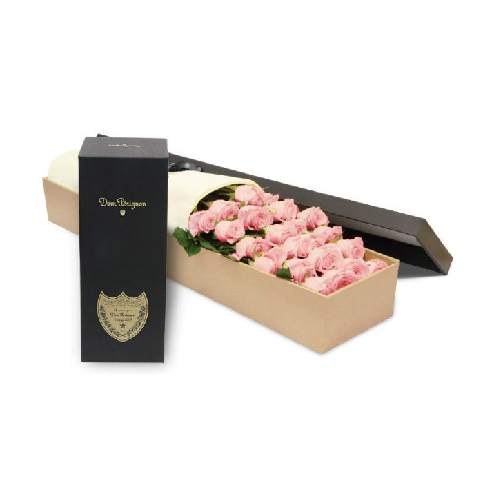 Luxury Pink Rose Box with Dom Perignon