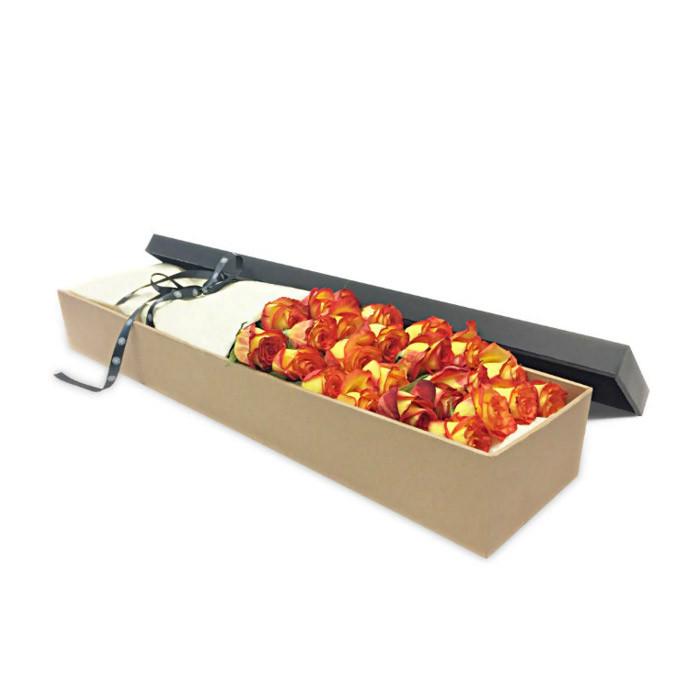 Luxury Orange Roses Gift Box