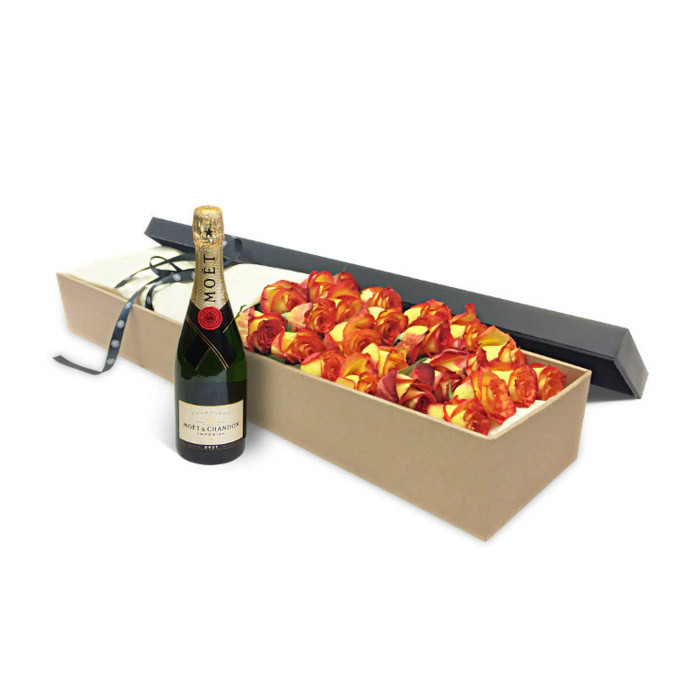 Luxury Orange Roses and Moet