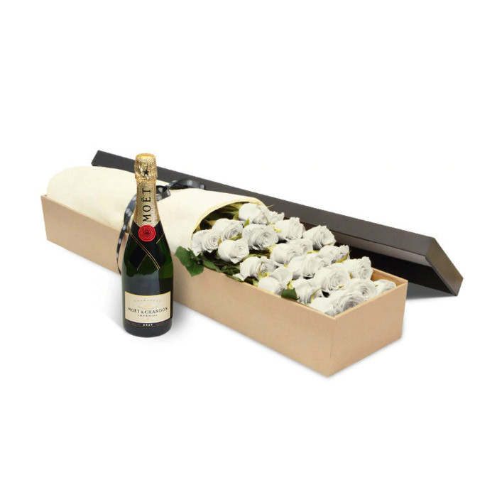 Luxury White Roses and Moet