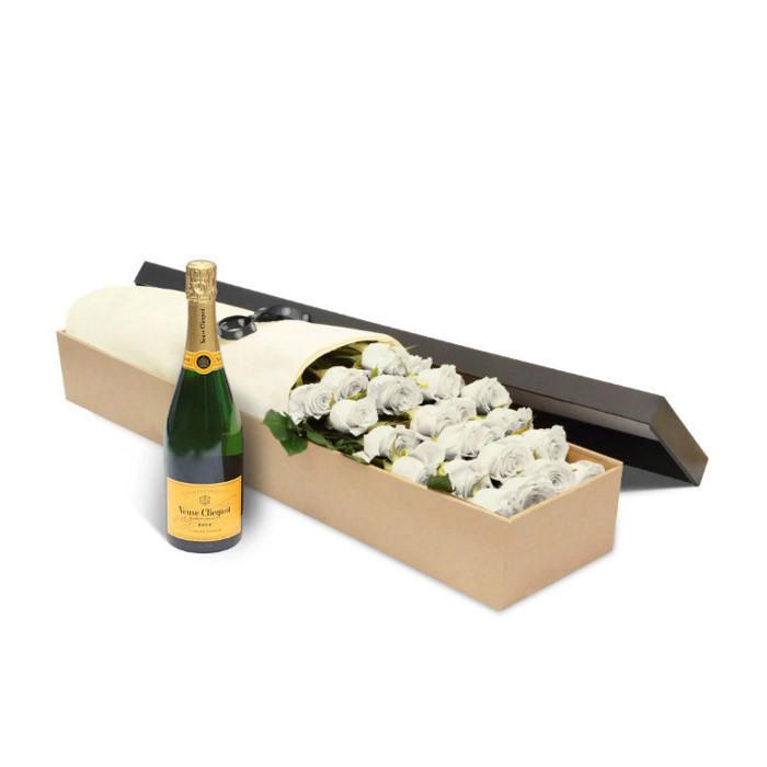 Luxury White Roses & Veuve