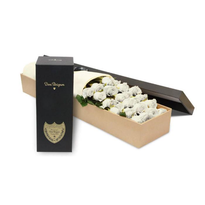 Luxury White Rose Box with Dom Perignon