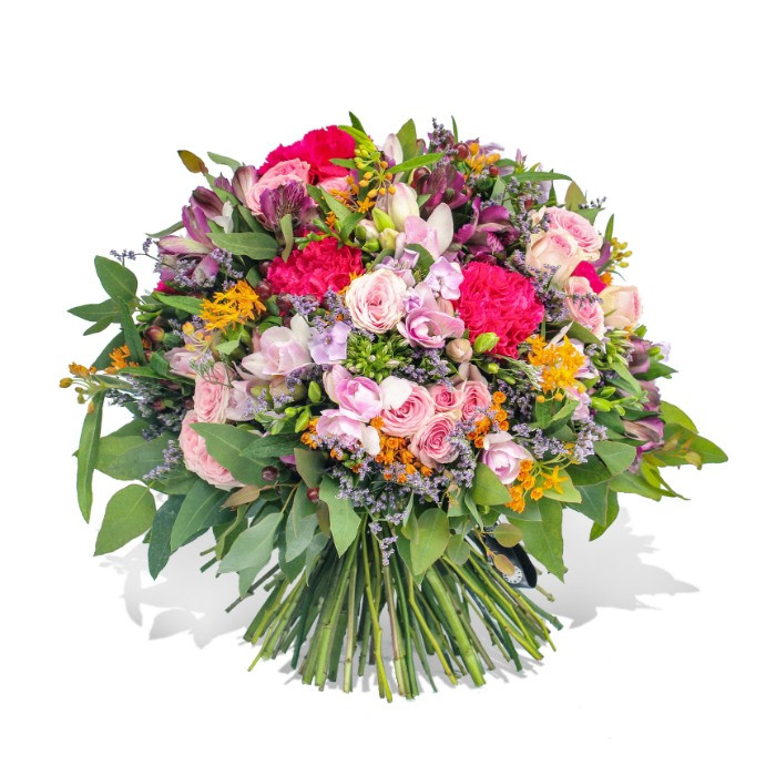 A mixed flower bouquet of bright pink dianthus, purple alstroemerias and elegant pink spray roses.