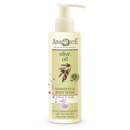 This SLES and tear free shampoo/body wash contains organic olive oil, chamomile and aloe vera to gently cleanse your child's hair and skin leaving it soft and hydrated