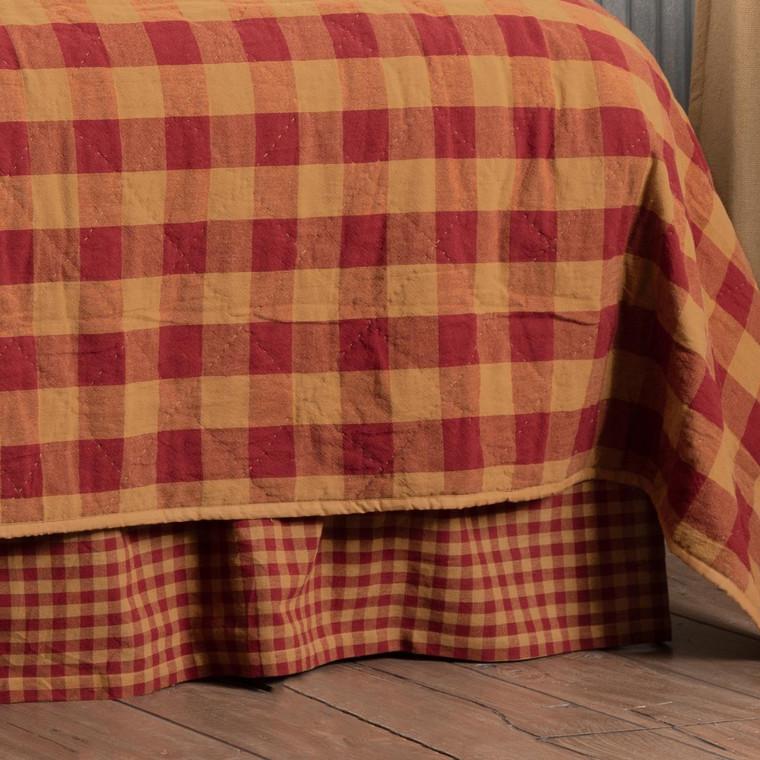 Burgundy Check Bed Skirt - 40000045176