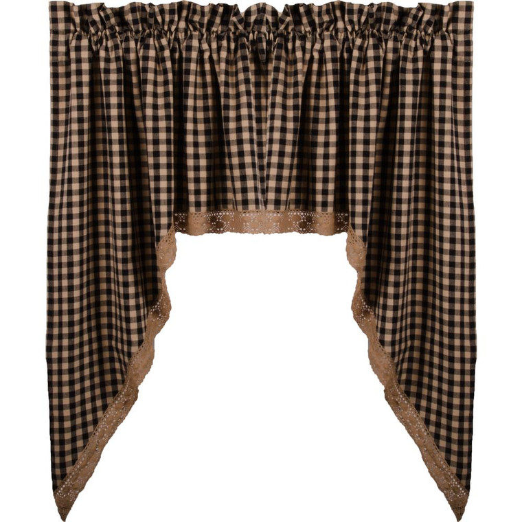 Heritage House Check Lace Swags - Black 72x36 - 640970738857