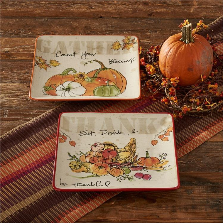 """Eat Drink & Be Thankful Serving Plate - 11.25"""" x 11.25"""" - 400000516318"""