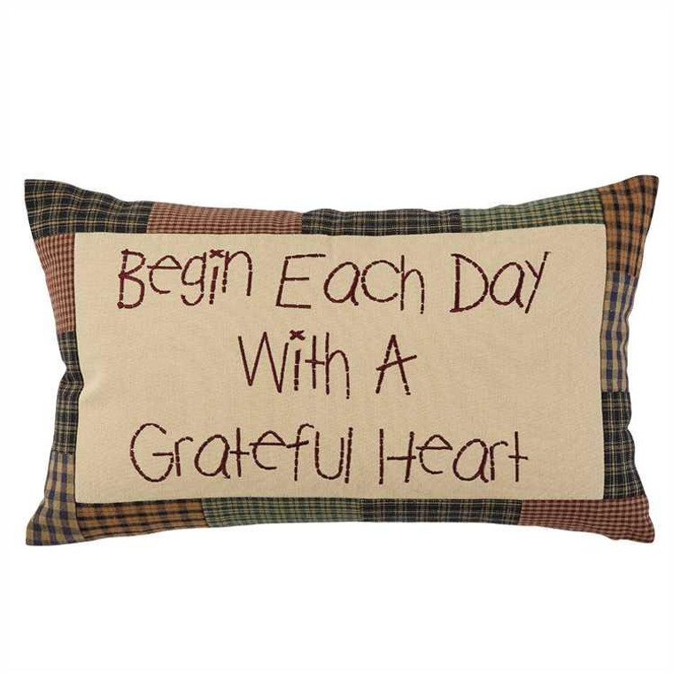 Begin Each Day Embroidered Pillow - 12x20 - 762242415737