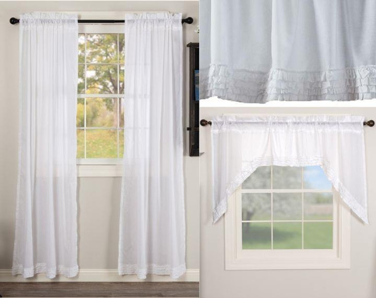 White Ruffled Sheer Curtain Collection -