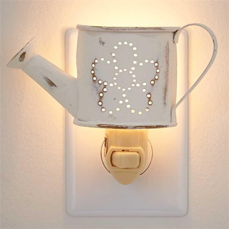 Watering Can Night Light - Distressed White - 762242418837