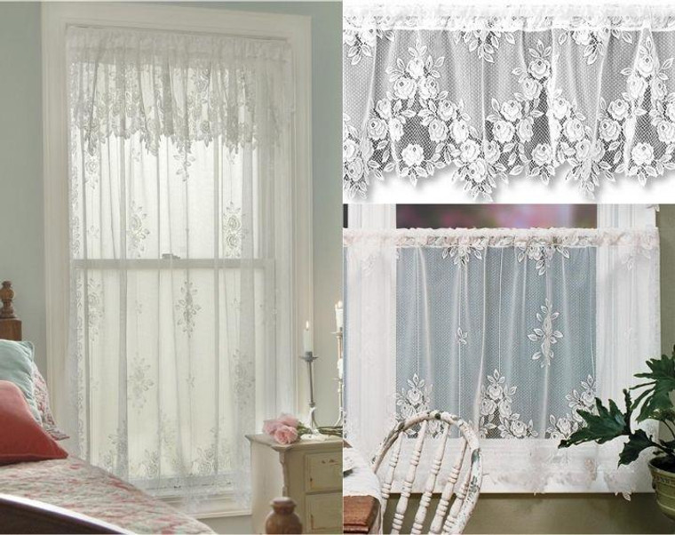 Tea Rose Lace Curtain Collection -
