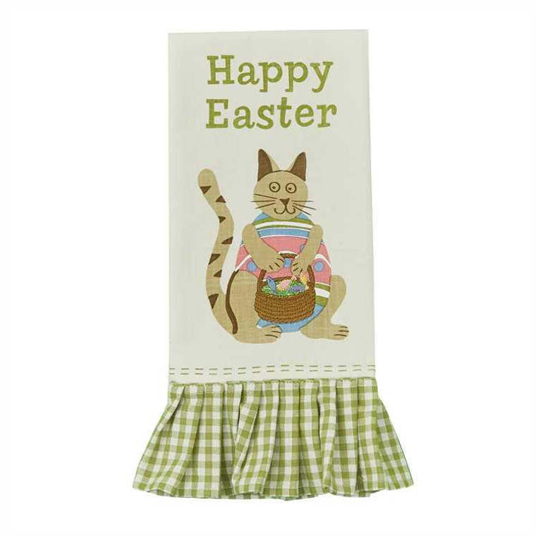 Easter Cat Embroidered Printed Dishtowels - Set of 2 - 762242437029