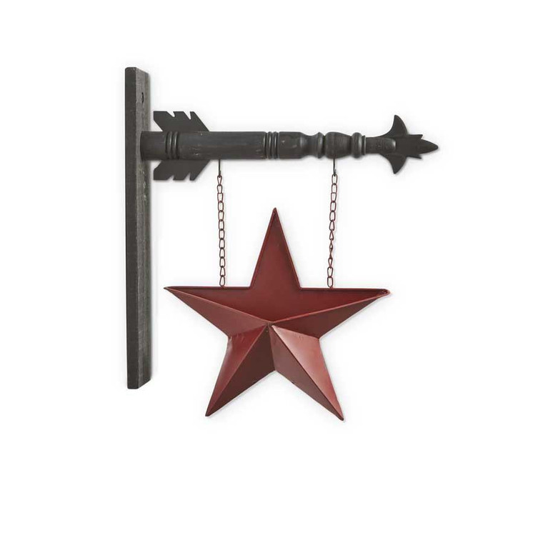 Hanging Sign - Two Sided Red Tin Pocket Star - 842657127682