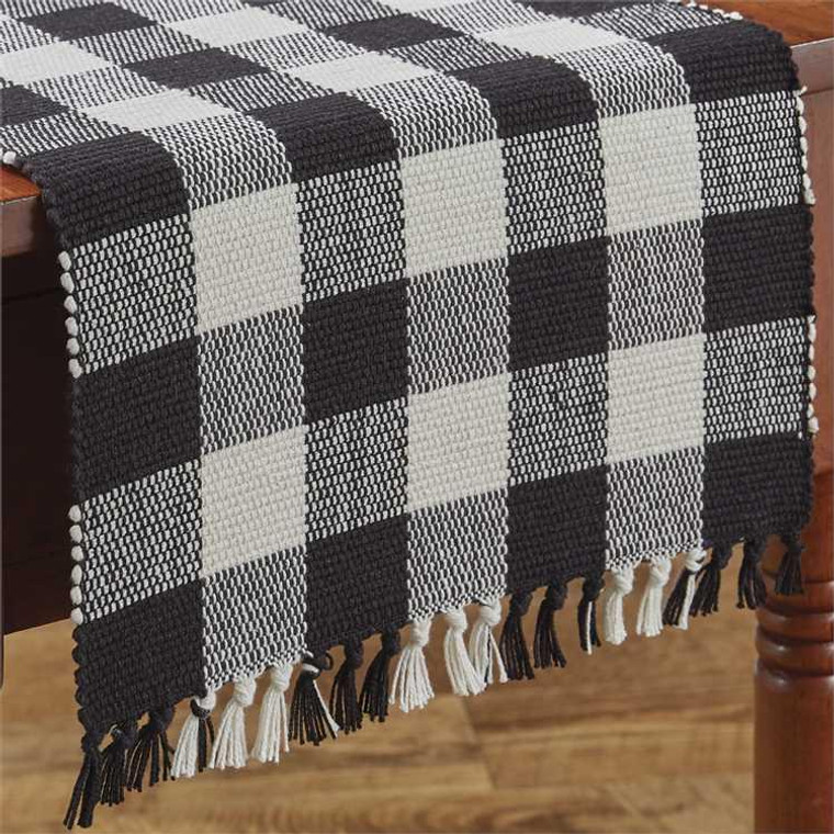 Wicklow Check Table Runners - Black & Cream - 400000567860