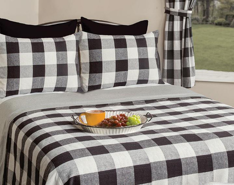Wicklow Large Check Black Bedding Collection -