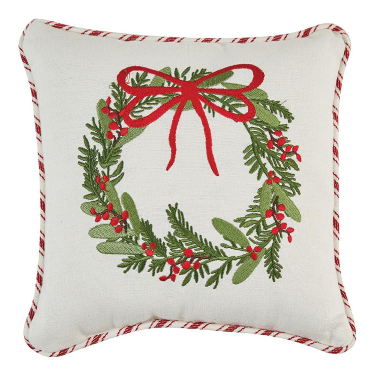 Wreath Embroidered Pillow - 10x10 - 400000606507