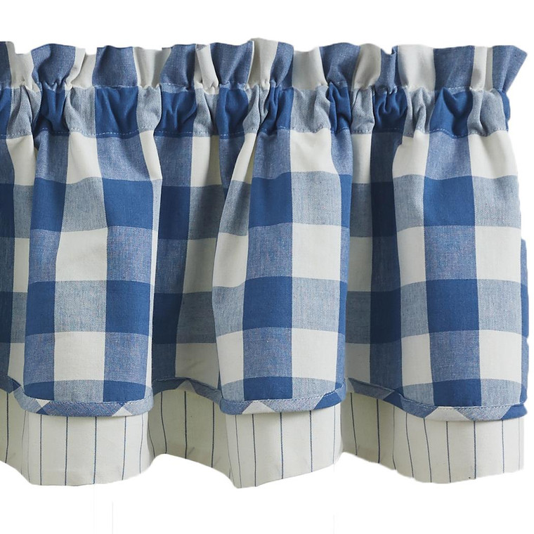 Wicklow Check Valance - Lined Layered China Blue 72x16 - 762242021976