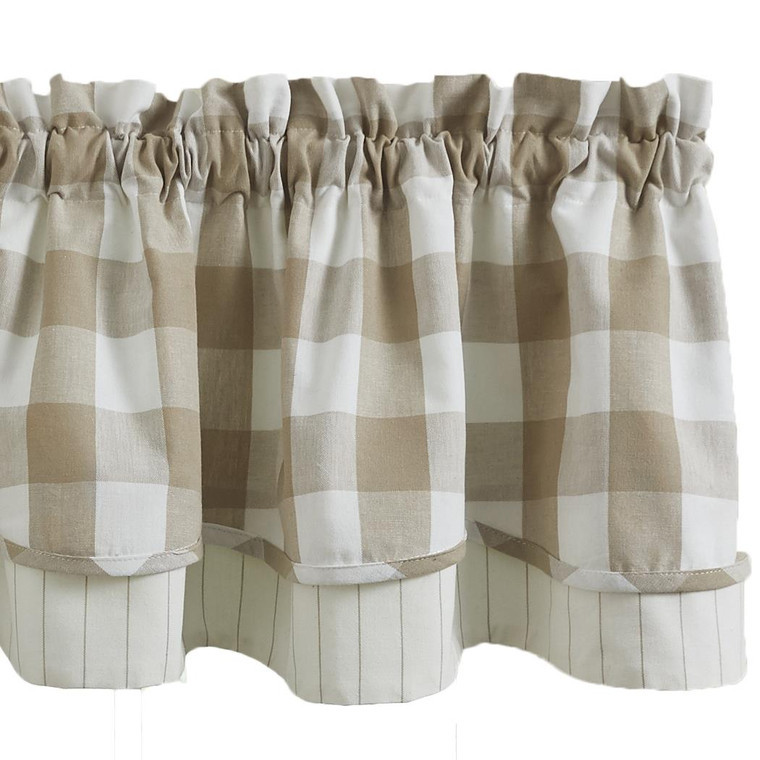 Wicklow Check Valance - Lined Layered Natural 72x16 - 762242022003