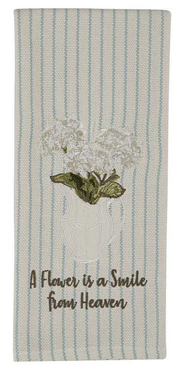 Hydrangea Appliqued Embroidered Dishtowels - Set of 2 - 762242029095