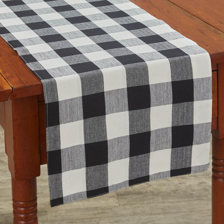 Wicklow Check Table Runners - Black & Cream Backed - 762242021594