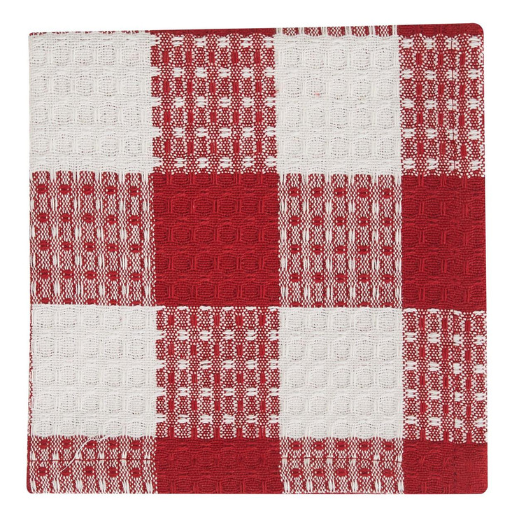 Wicklow Check Dishcloths - Red & Cream Set of 6 - 762242021921
