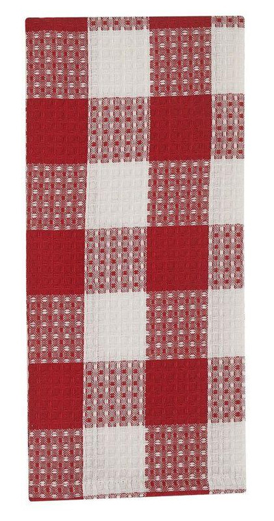 Wicklow Check Waffle Dishtowels - Red & Cream Set of 3 - 762242021471