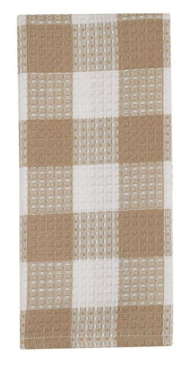 Wicklow Check Waffle Dishtowels - Natural Set of 3 - 762242021464