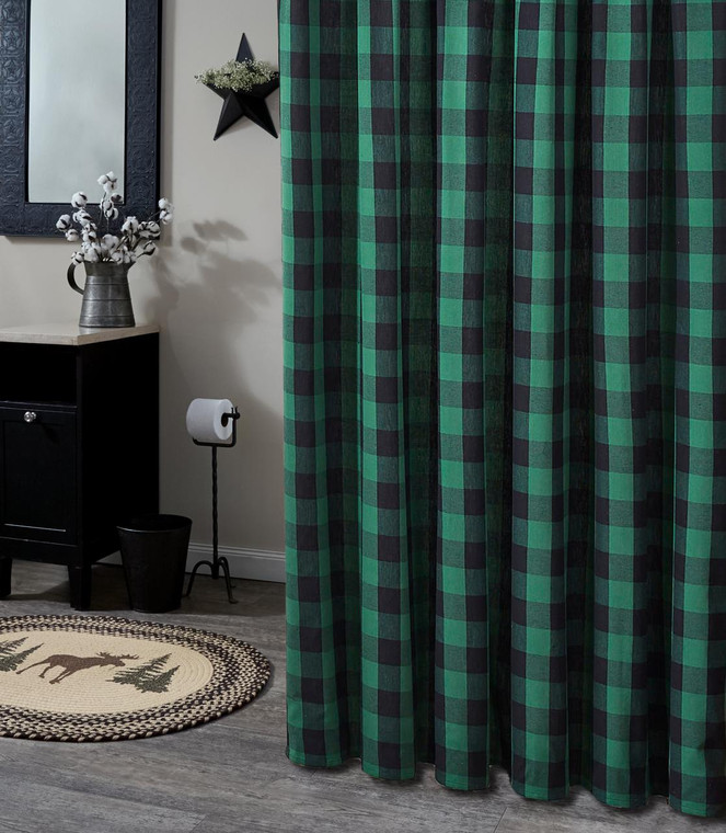 Wicklow Check Shower Curtain - Forest - 762242018341