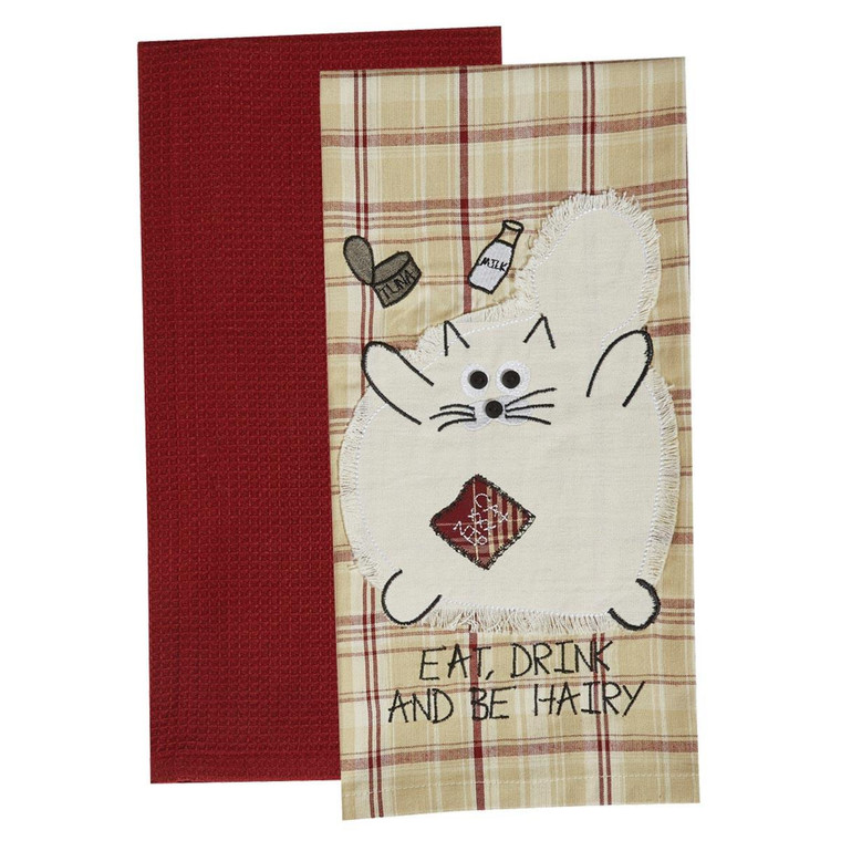 Eat Drink And Be Hairy Dishtowels - Set of 2 - 762242401969