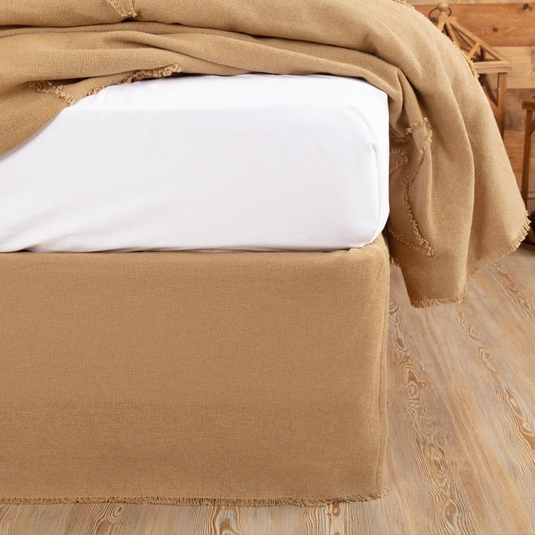 Burlap Natural Fringed Bed Skirt - 841985034143