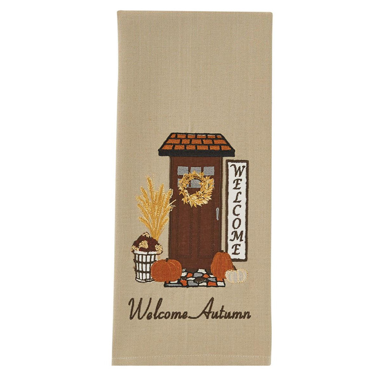 Welcome Autumn Appliqued Embroidered Dishtowels - Set of 2 - 762242028661