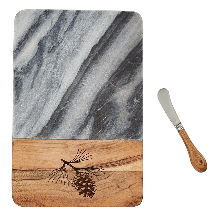 Rustic Pine Cutting Board with Spreader - 762242035416