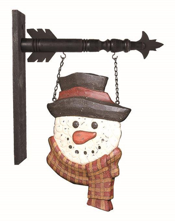 Farmhouse Hanging Sign - Snowman With Scarf - 400000031866