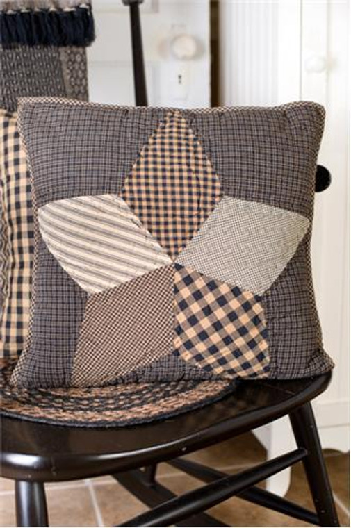 Farmhouse Star Pillow - 16x16 Quilted - 840528153037