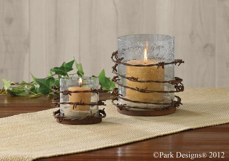 Barbed Wire Primitive Candle Holder - Pillar - 762242290310