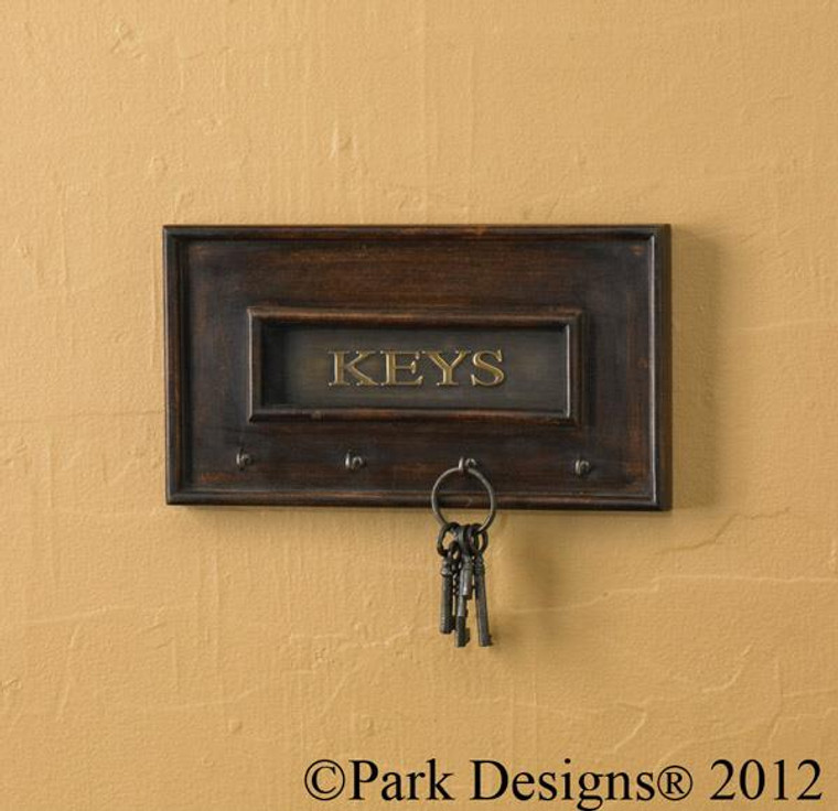 Wood and Brass Key Hook - 762242201521