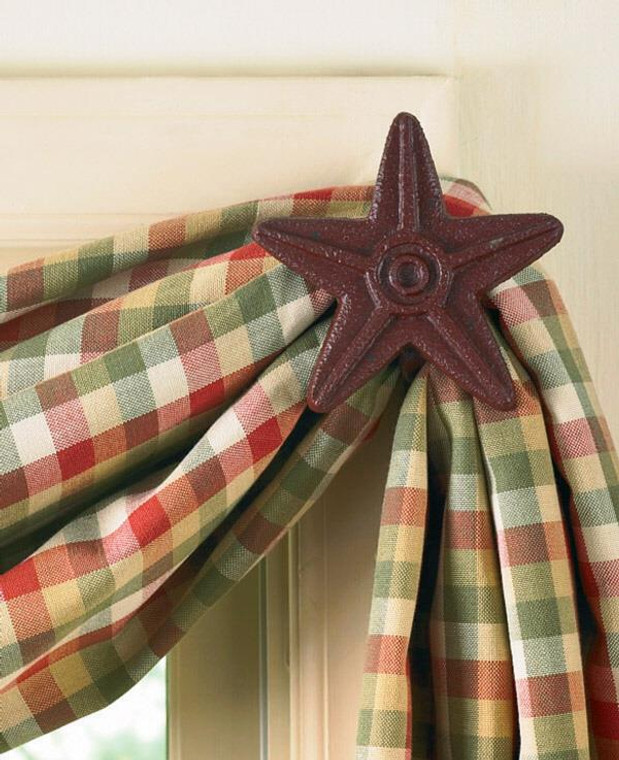 Curtain Hooks - Cast Iron Red Star - 762242216617