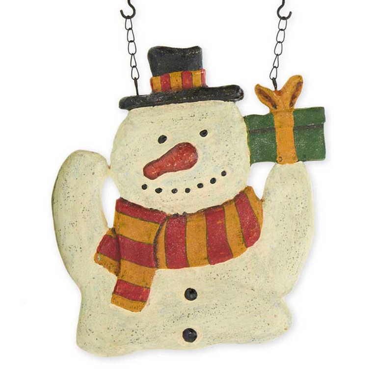 Farmhouse Hanging Sign - Snowman with Gift - 400000369013